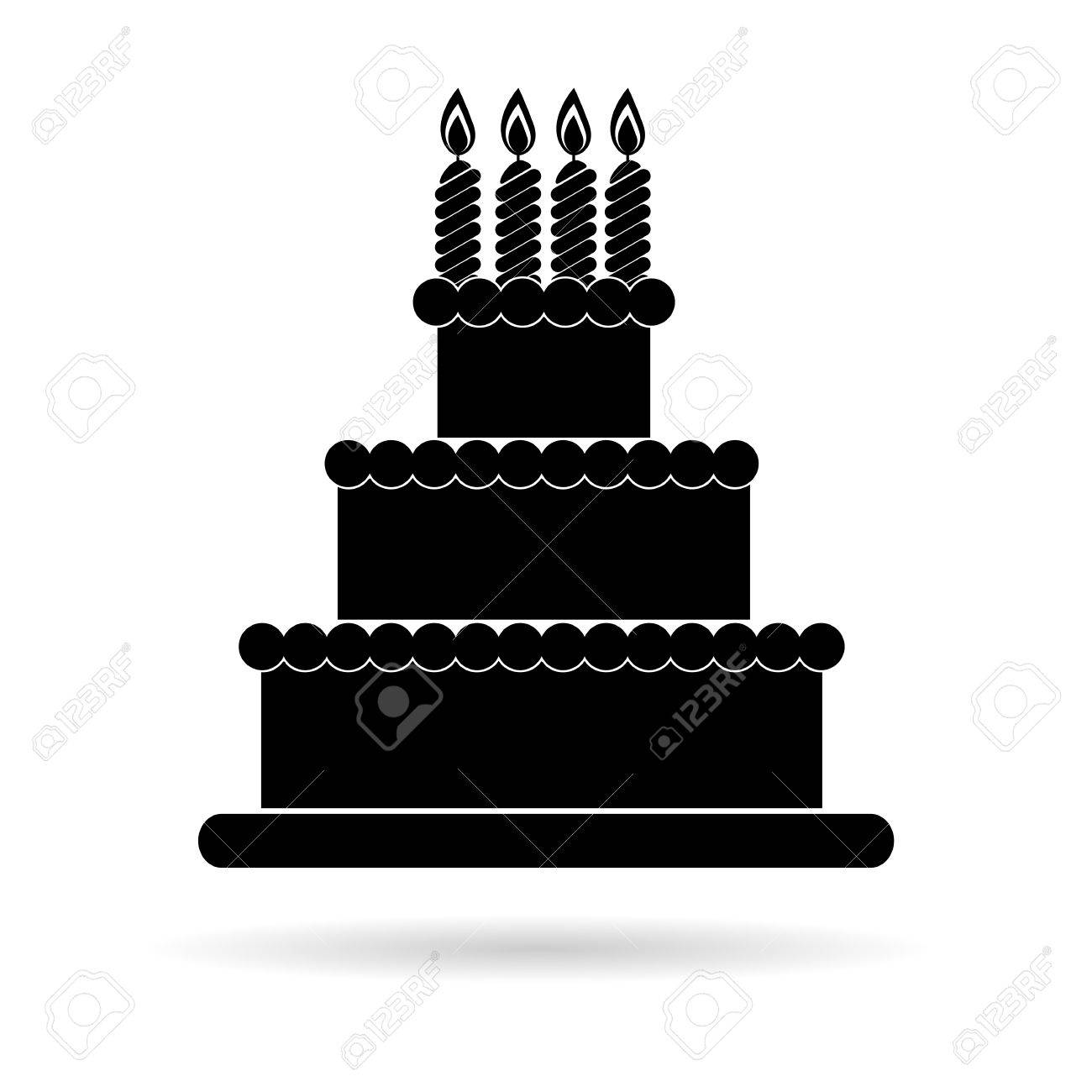 Birthday Cake Black Icon Royalty Free Cliparts Vectors And Stock