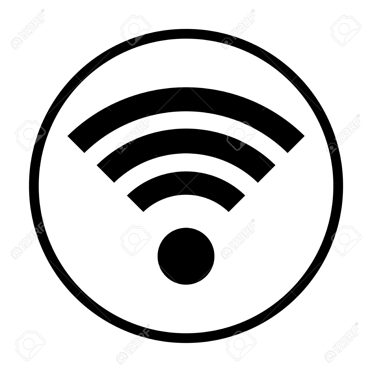Wireless Circle Wifi Icon Royalty Free Cliparts, Vectors, And Stock ...