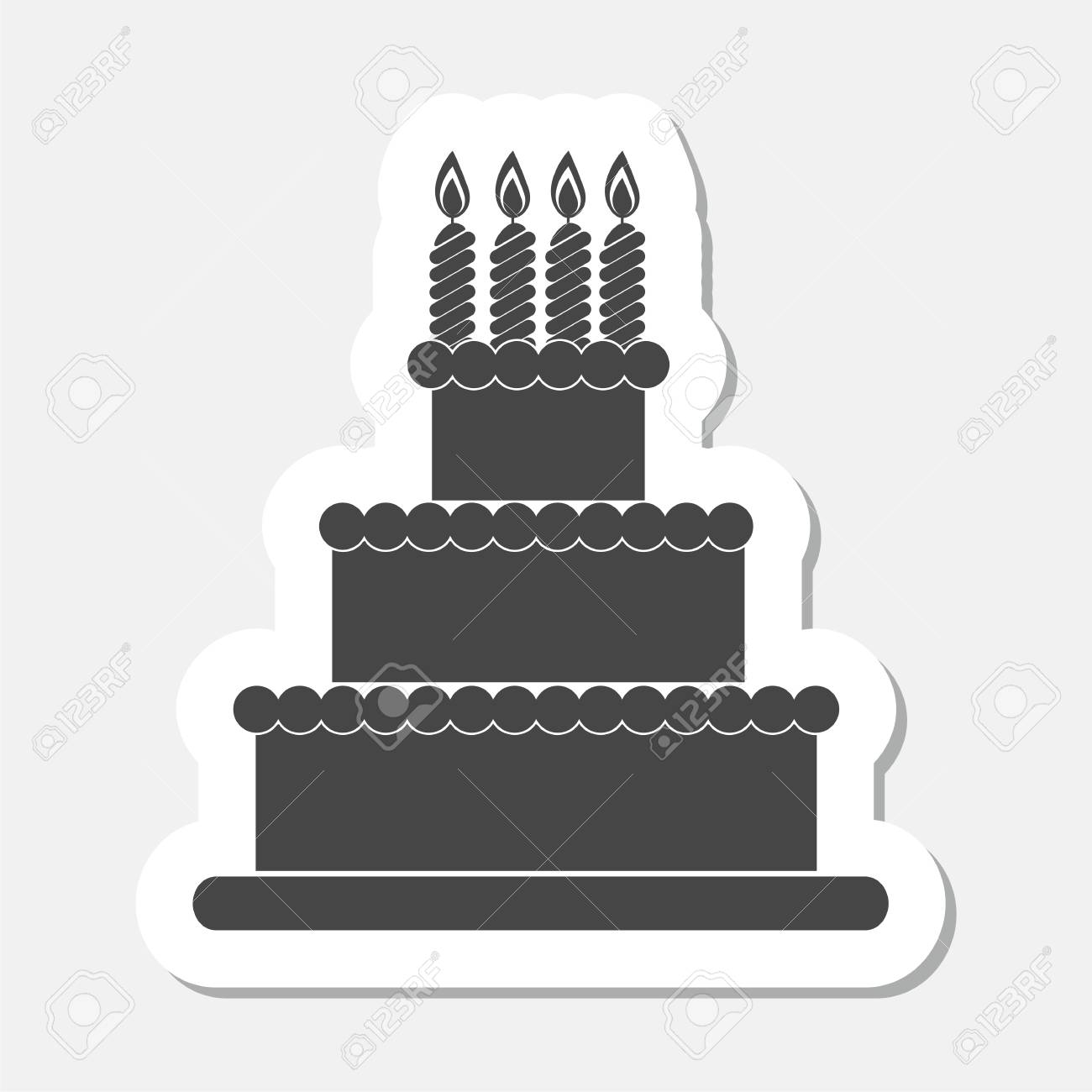 Birthday Cake Sticker Royalty Free Cliparts Vectors And Stock