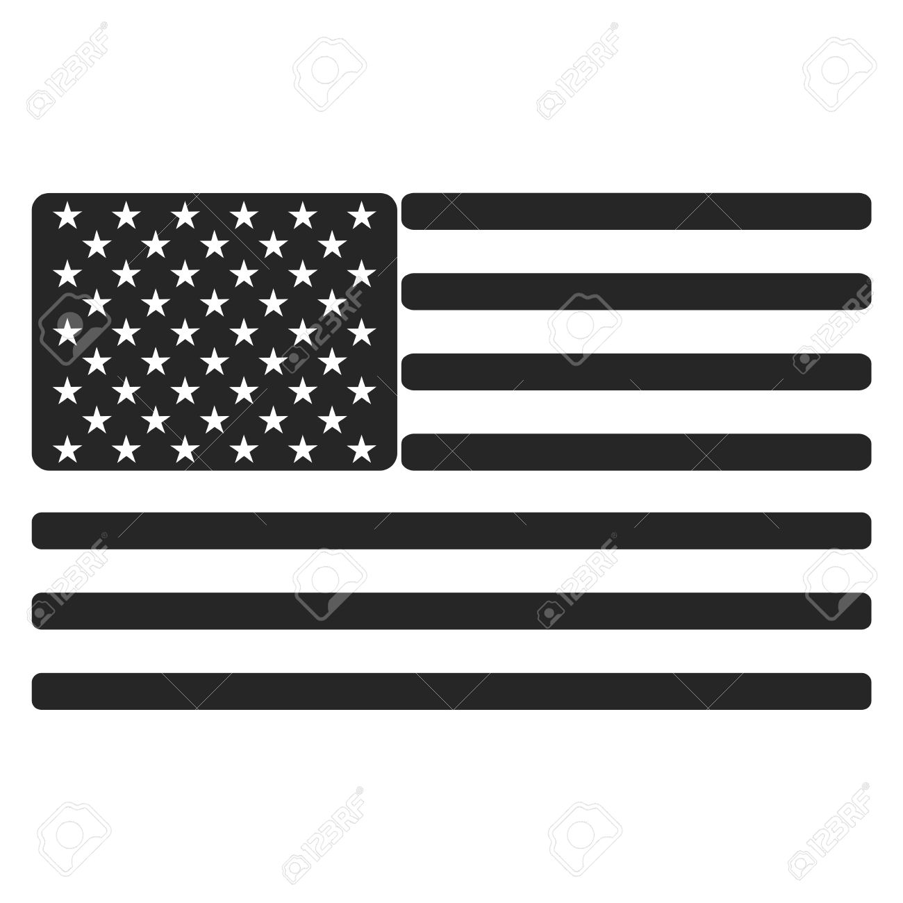 ada284137a9 USA (American) Flag Icon Black And White Royalty Free Cliparts ...