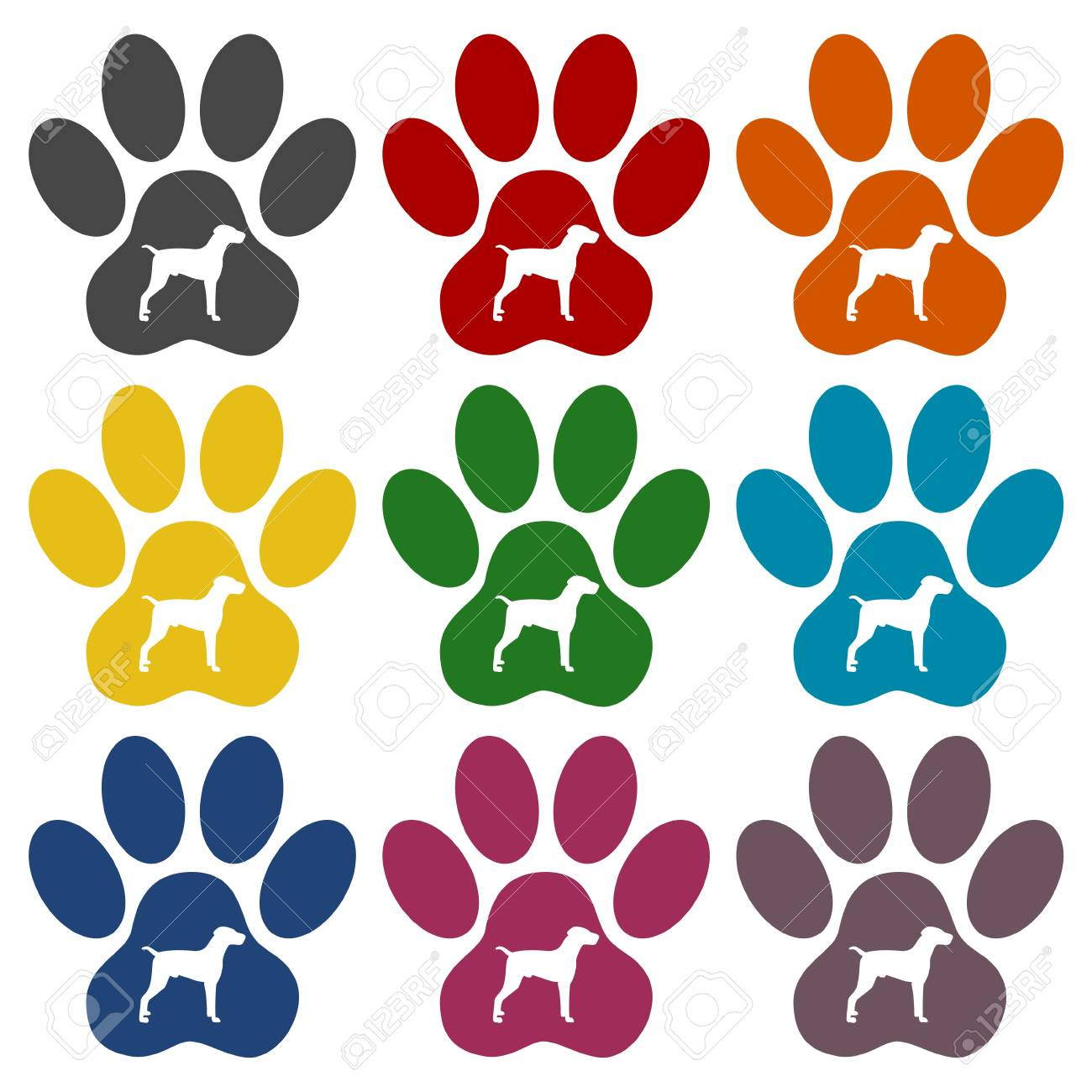 dog paw print icons set royalty free cliparts vectors and stock rh 123rf com Dog Paw Print Stencil dog paw print vector art