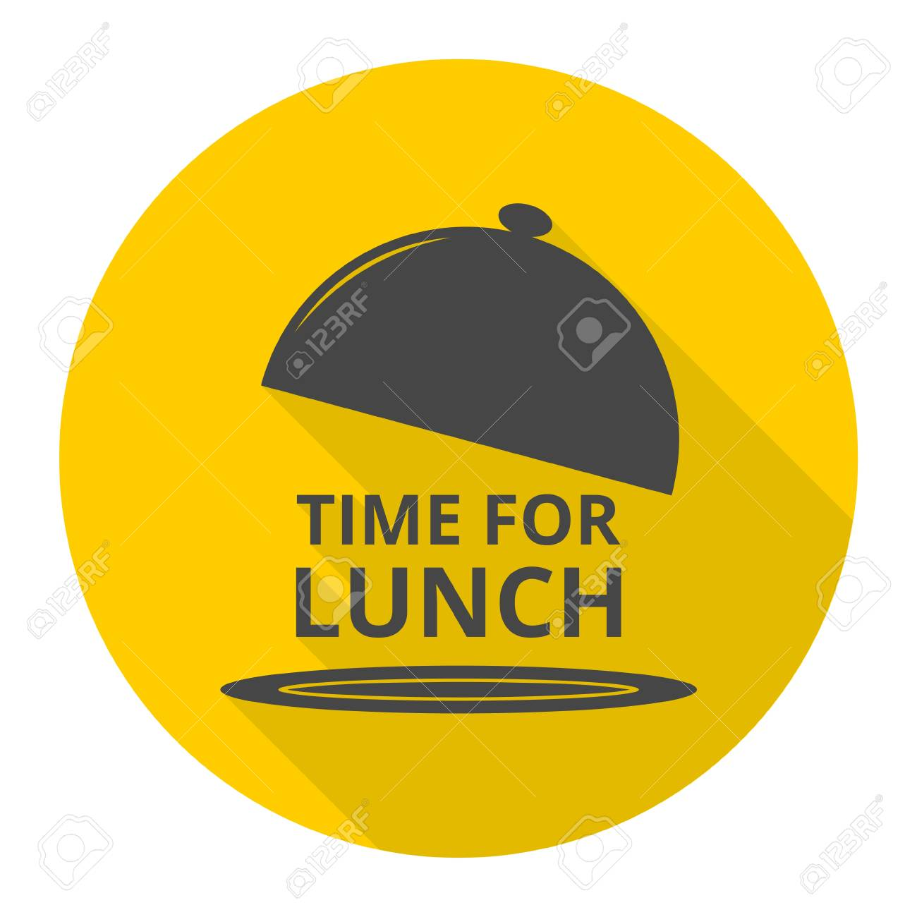 Time For Lunch Icons Set With Long Shadow Stock Vector