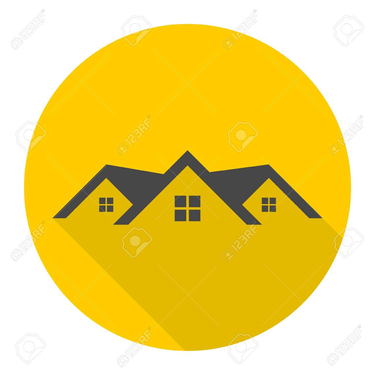 Home Roof Icon With Long Shadow Royalty Free Cliparts Vectors And