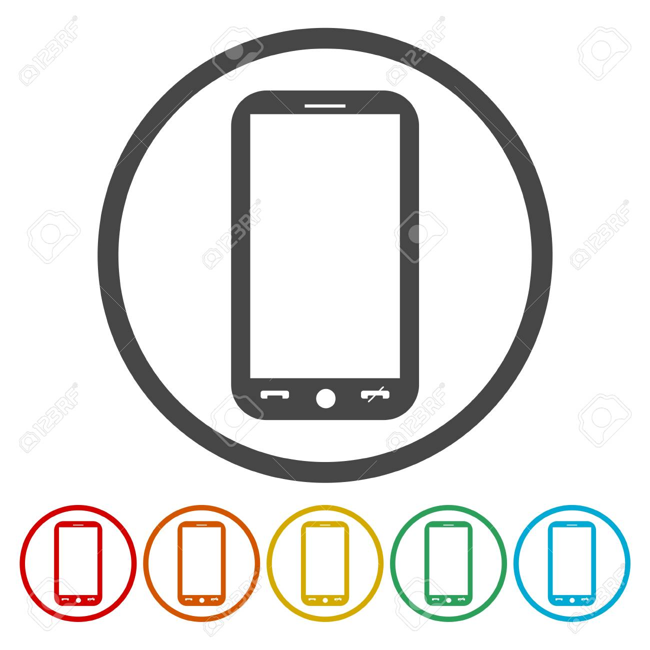 Mobile phone circle icon  Vector illustration