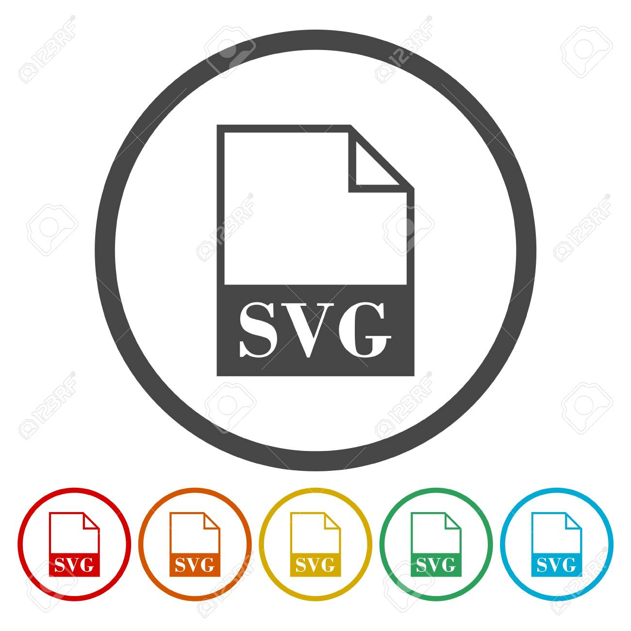 Set of colorful SVG file icon. Stock Vector - 85103427
