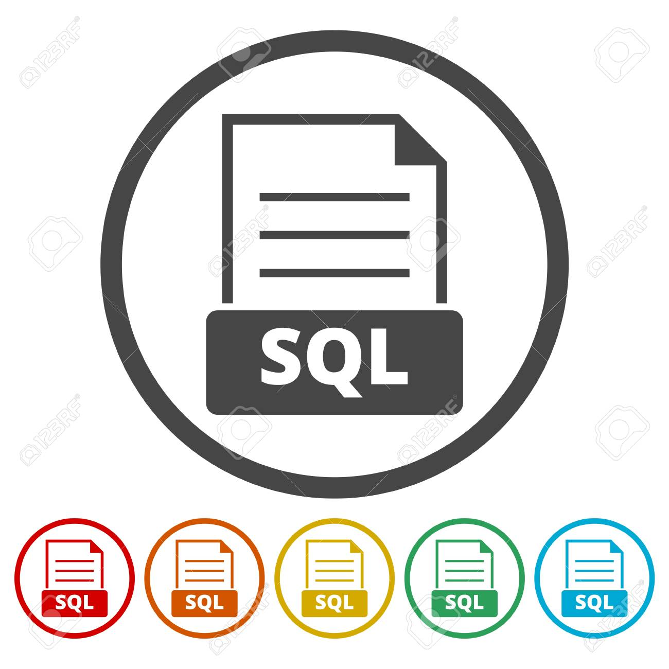 Sql Icon Flat Grey Iconic Symbol In A Light Blue Rounded Frame