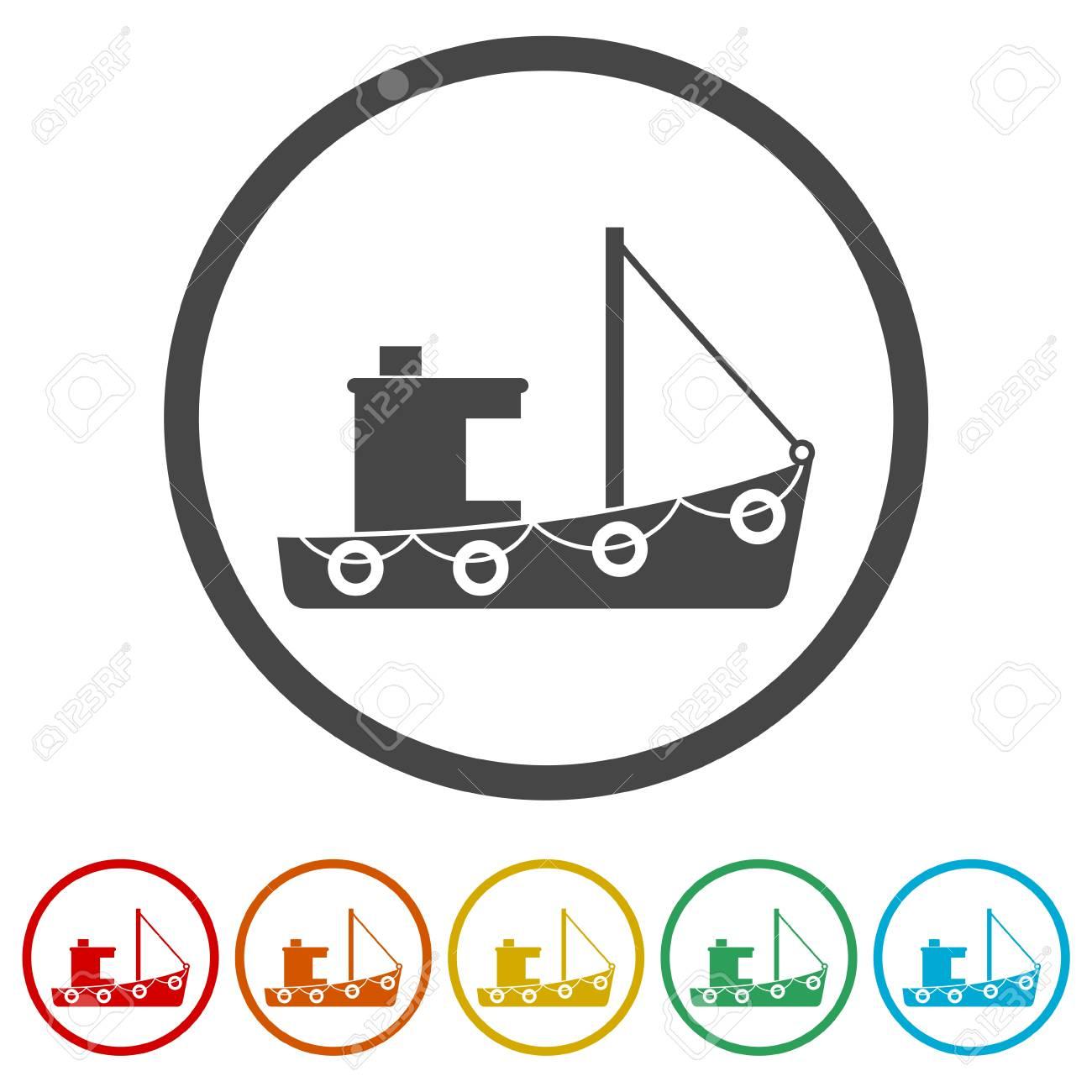 Fishing boat icons set - 107231943