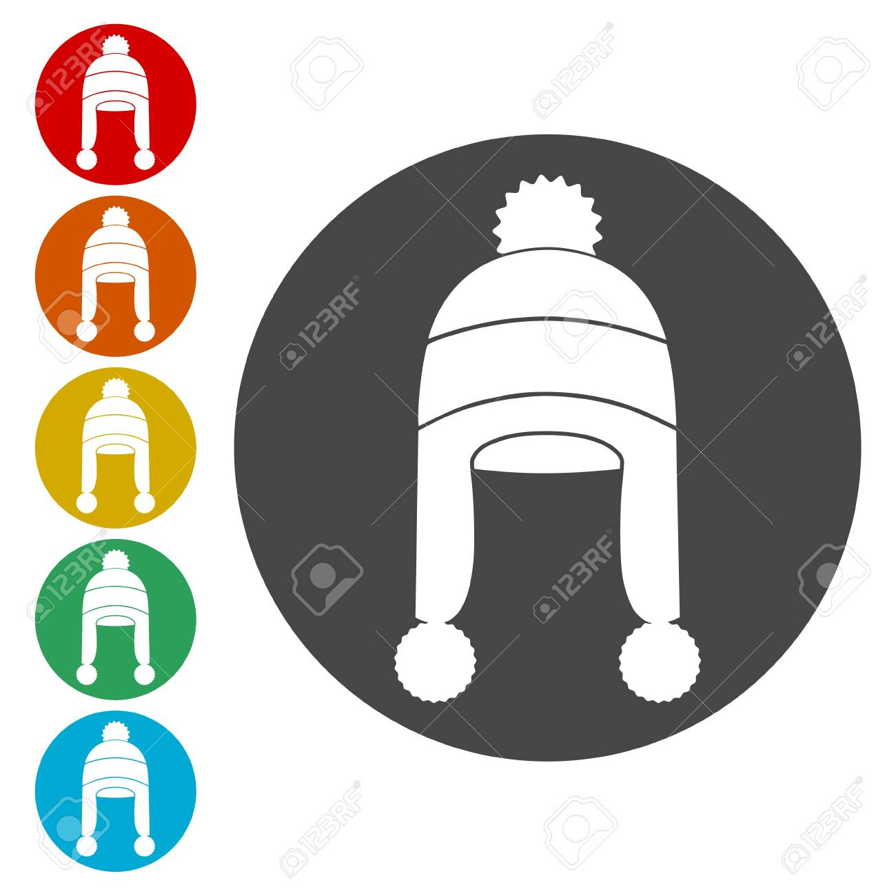 ce8aa7b7bfe Winter Snowboard Cap Icons Set - Vector Illustration Royalty Free ...
