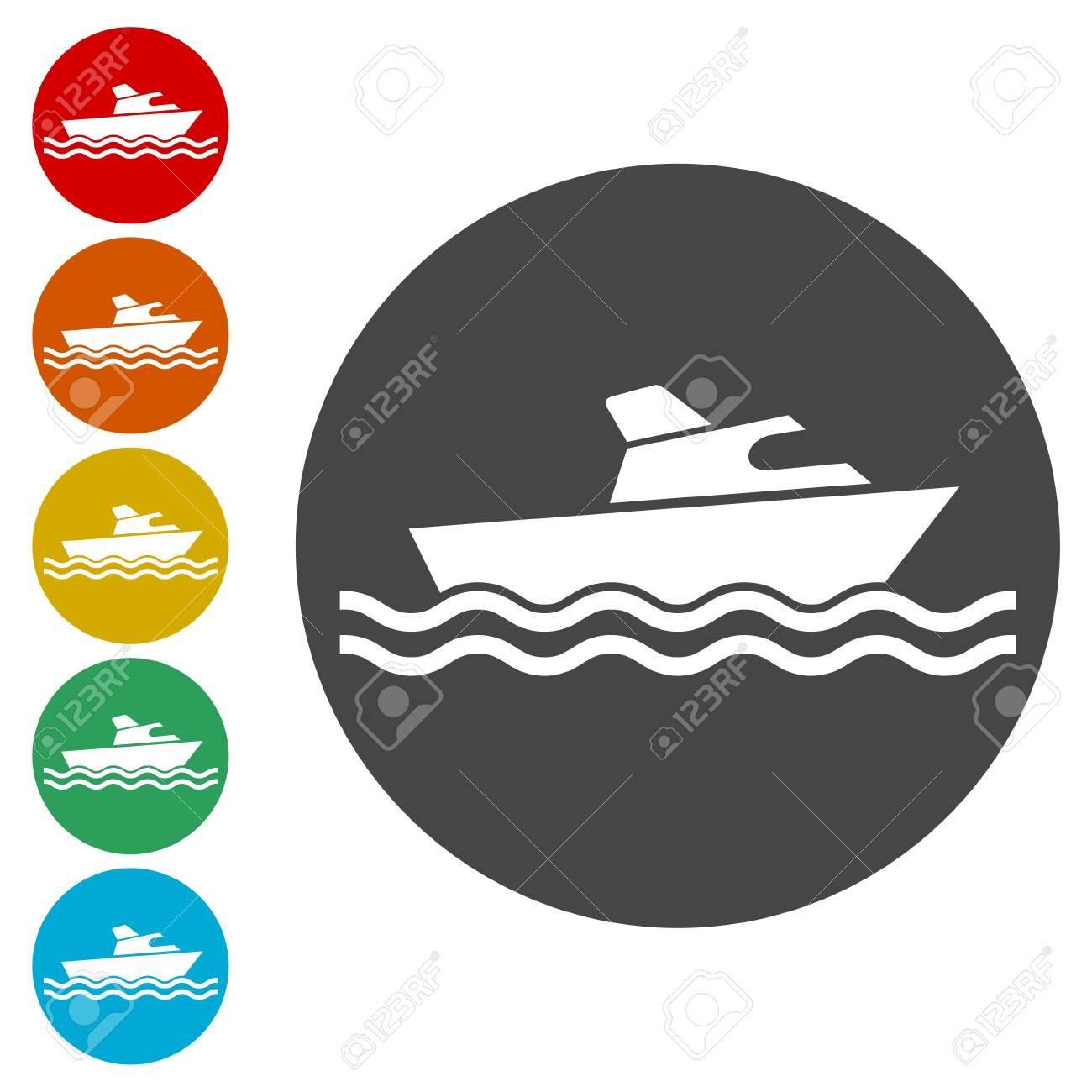 Fishing boat icons set - 108908977