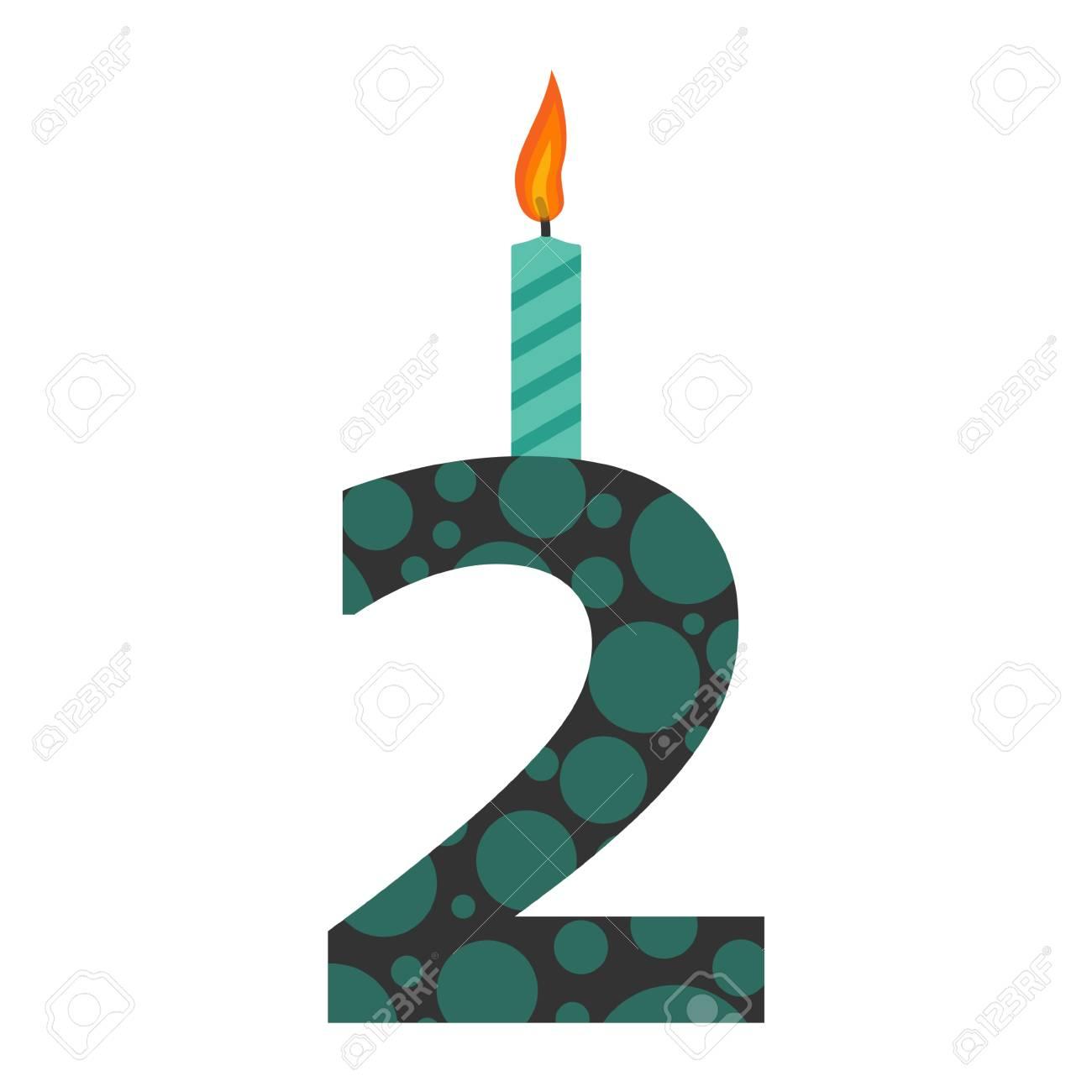 Burning Birthday Candles Number 2 Standard Bild