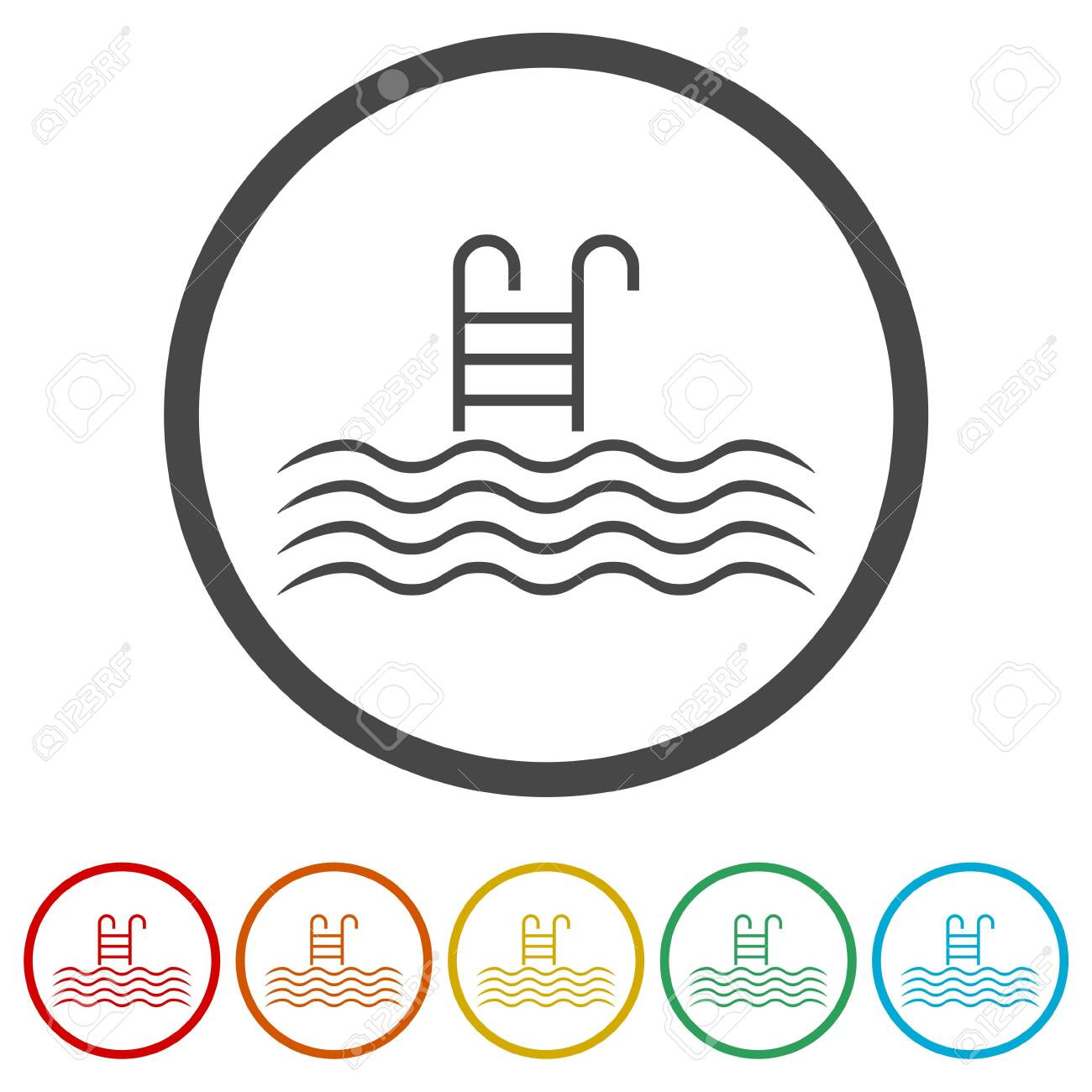 pool vector icon, swimming pool with ladder icon, 6 colors included royalty  free cliparts, vectors, and stock illustration. image 119450408.  123rf