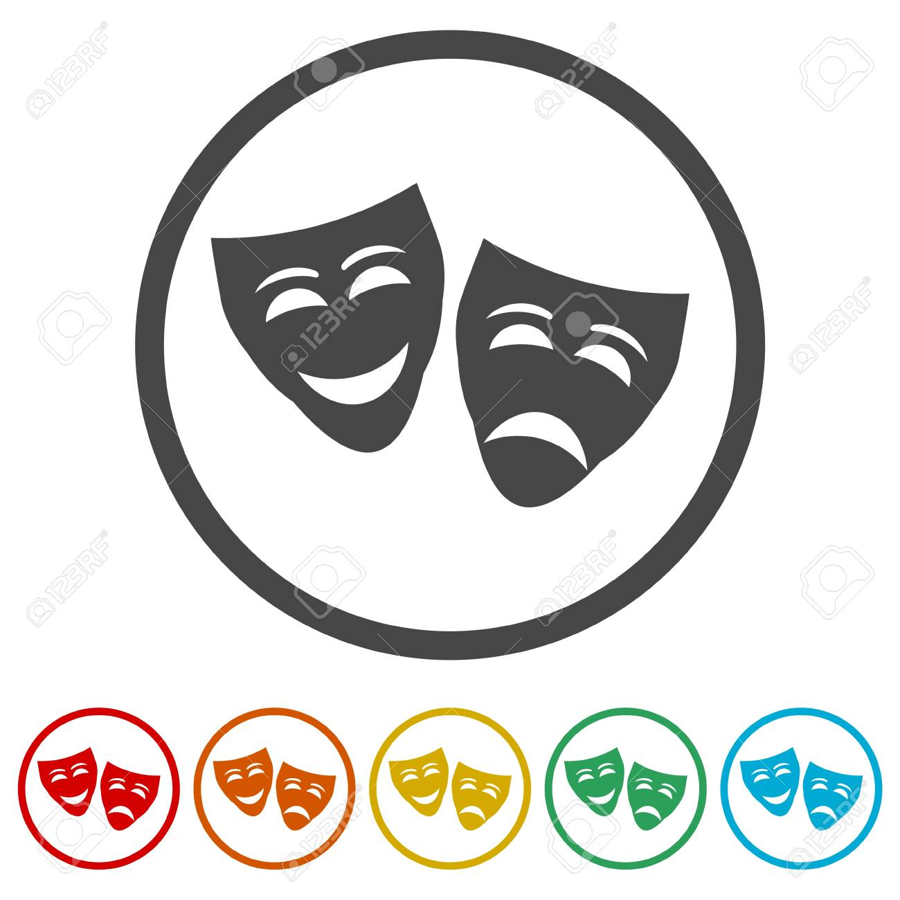 Theater mask isolated icon, 6 Colors Included - 121358554