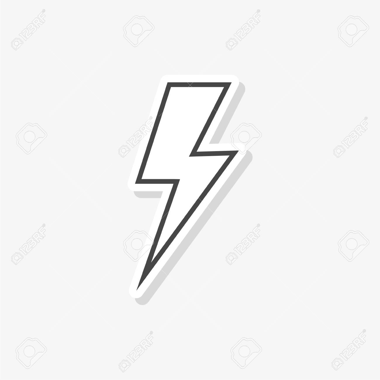 lightning bolt sticker simple vector icon royalty free cliparts vectors and stock illustration image 124084431 123rf com