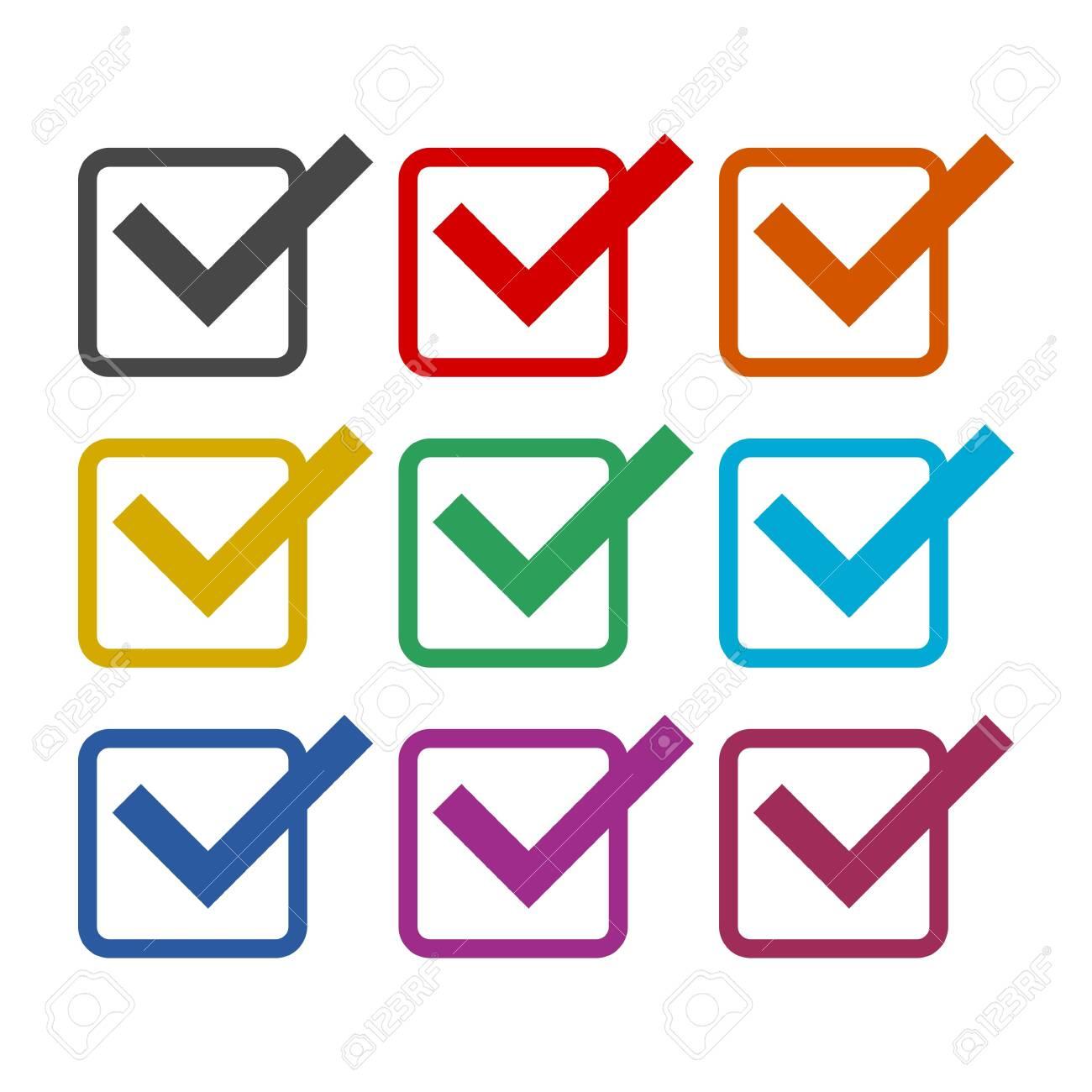 Checklist icon, color icons set - 128863447