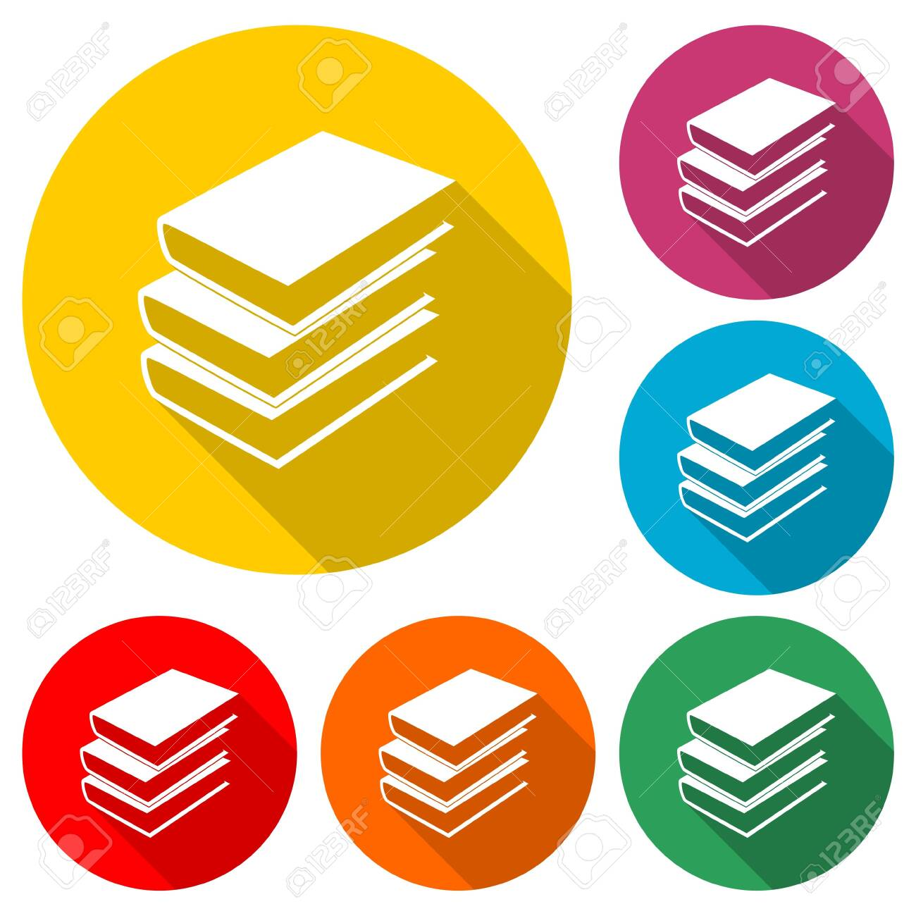 Book icon in flat style, color set with long shadow - 154064747