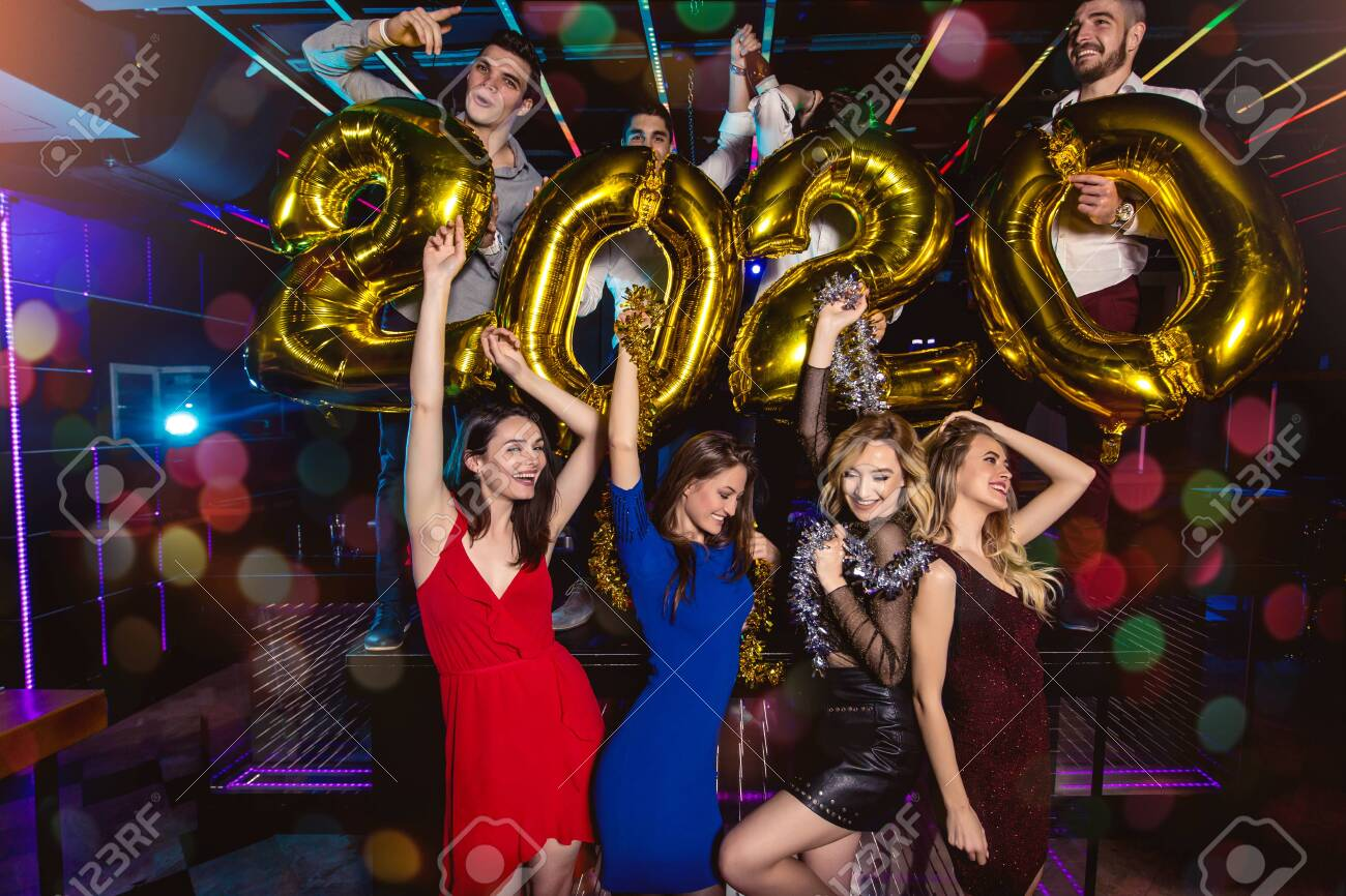 New Year Party Celebration With Friends In The Club Stock Photo Picture And Royalty Free Image Image 128956517