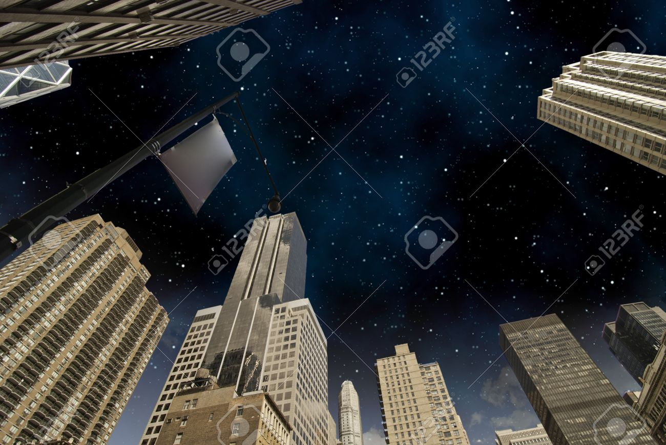 Starry Night over New York City Skyscrapers, Bottom-Up View Stock Photo - 9963347
