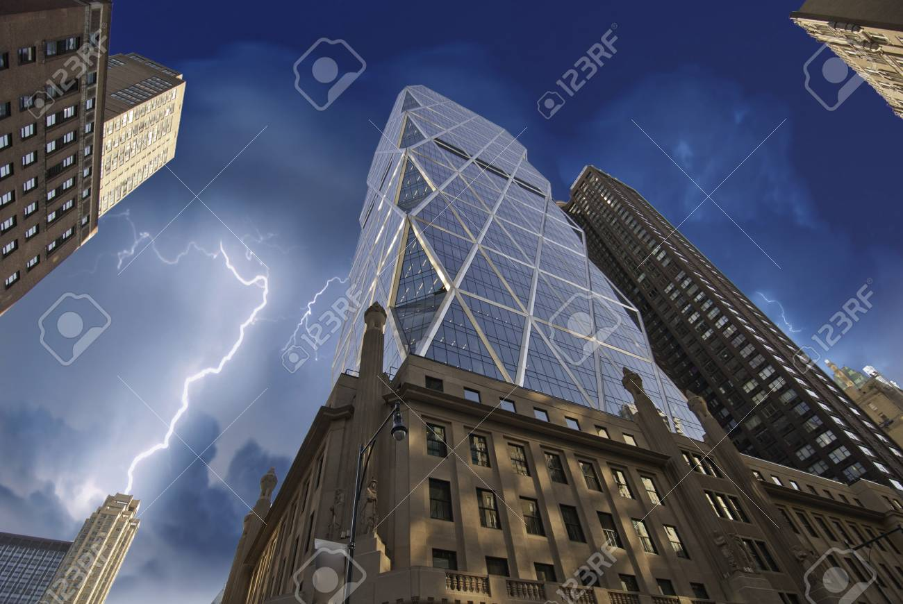 Storm over New York City Skyscrapers, U.S.A. Stock Photo - 10067983