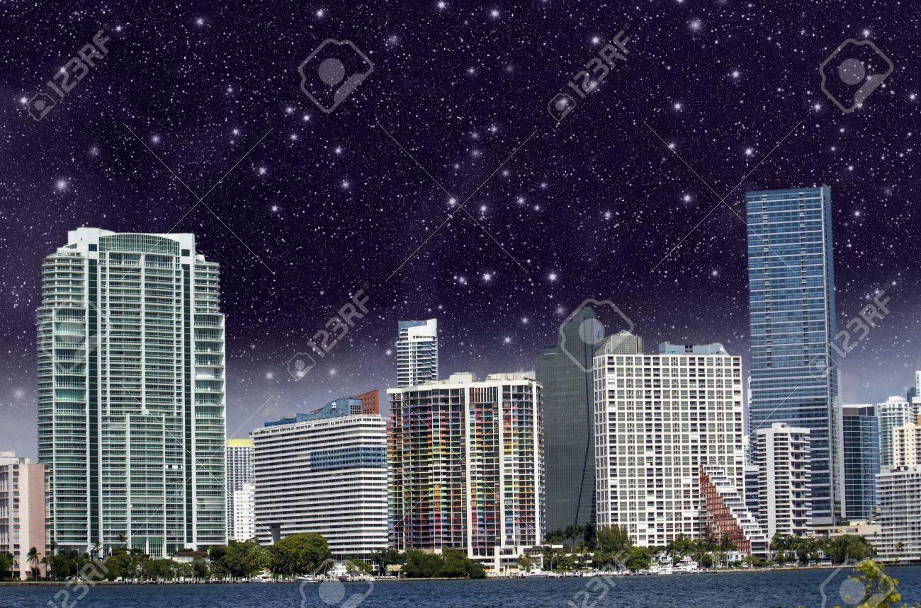 Starry Night above Miami Skyscrapers Stock Photo - 13422941