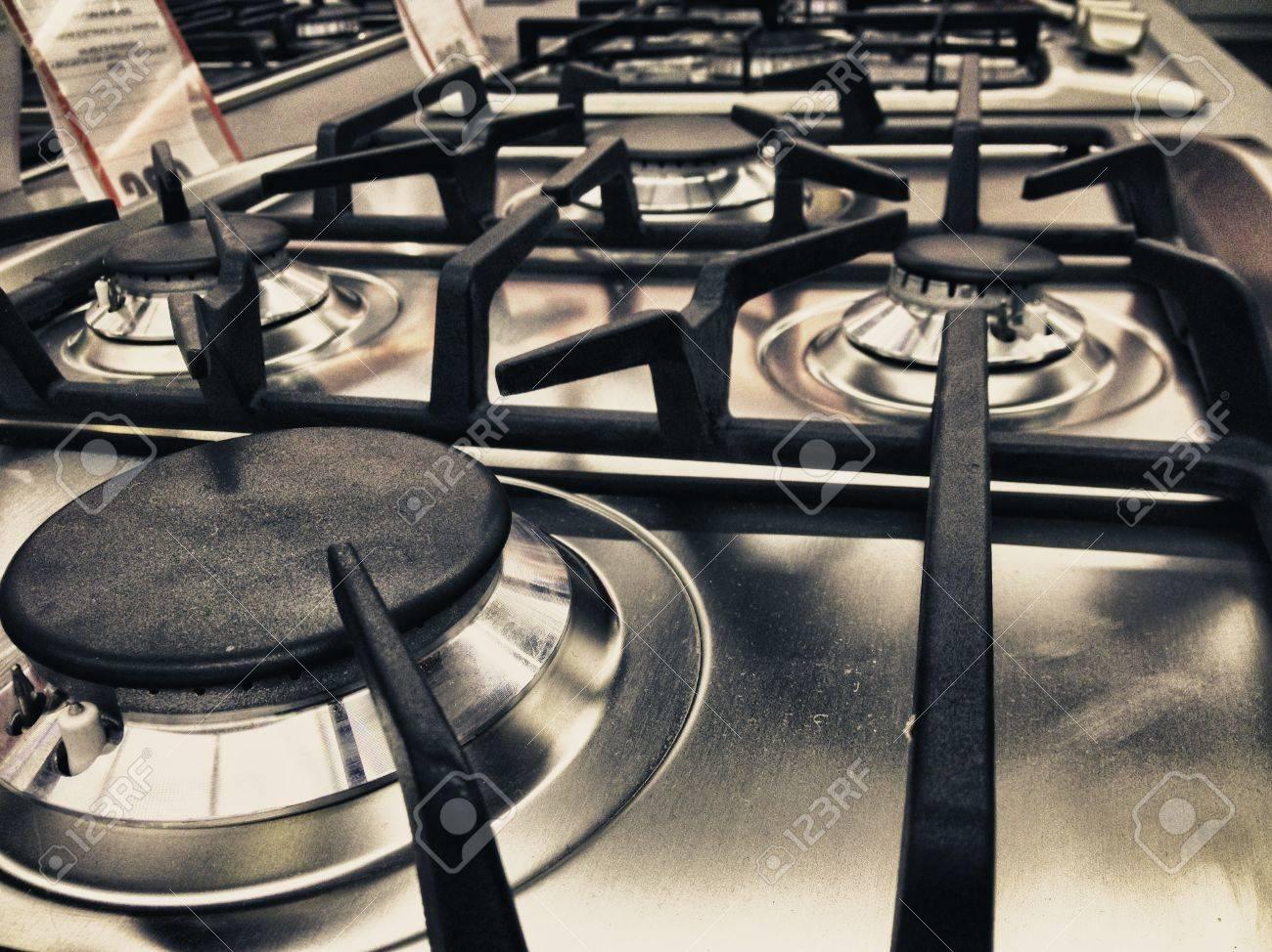 Modern Stove detail in a Italian Kitchen Stock Photo - 13702383