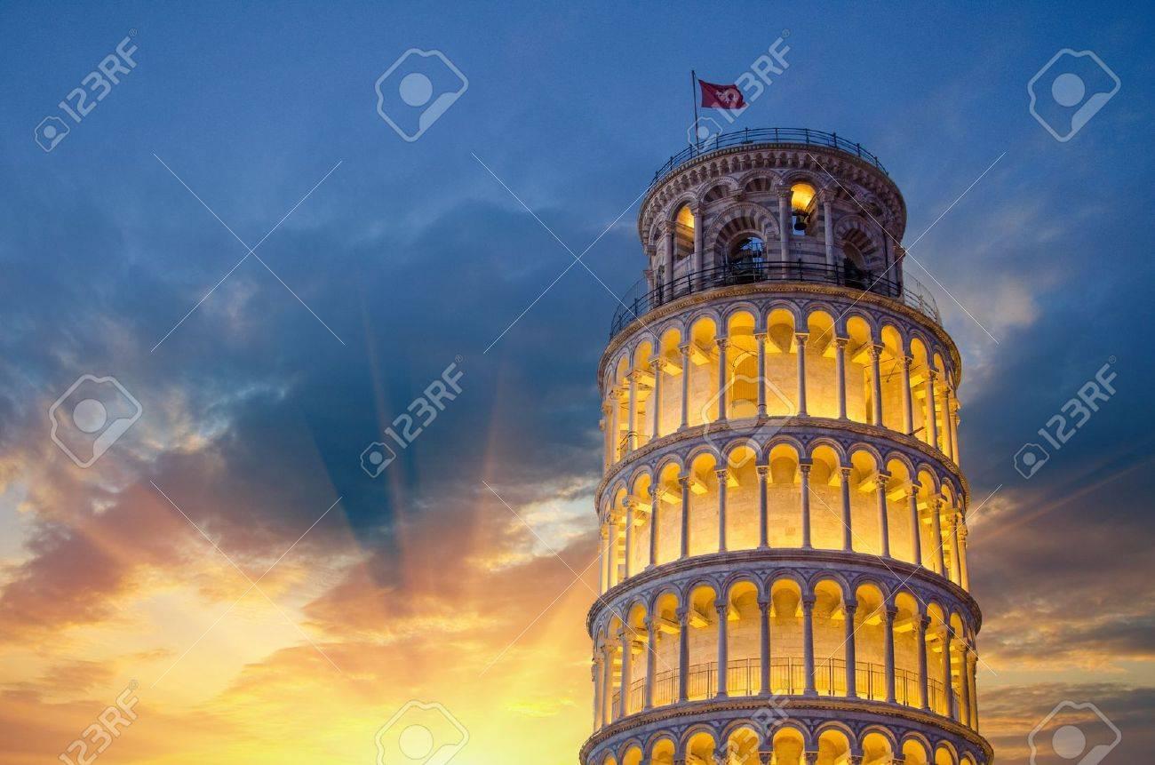 Leaning Tower of Pisa illuminated at Night, Italy Stock Photo - 14401739