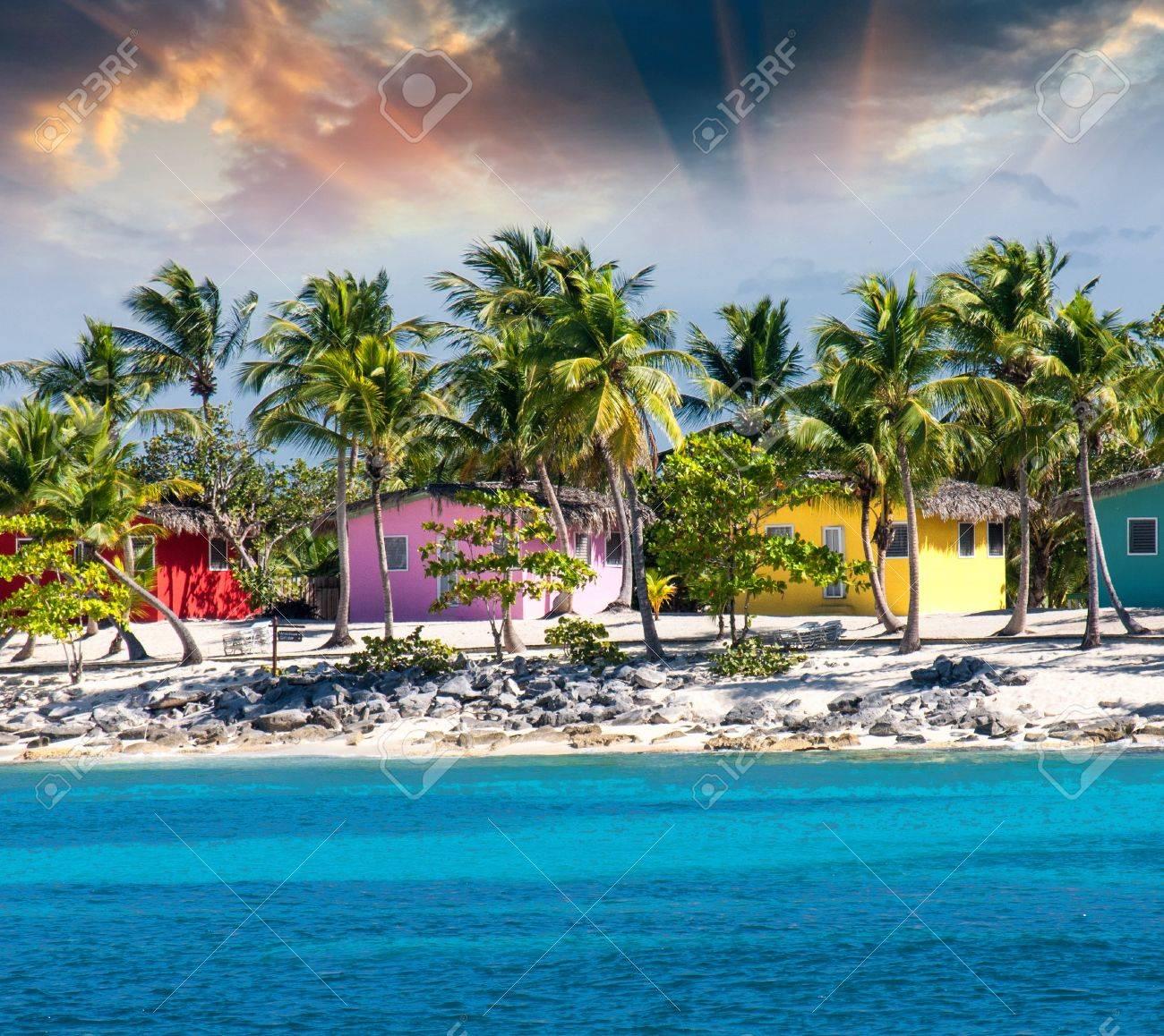 Strandhaus karibik  Karibik Schönen Strandhaus Mit Kokosnüssen Bäume, Santo Domingo ...