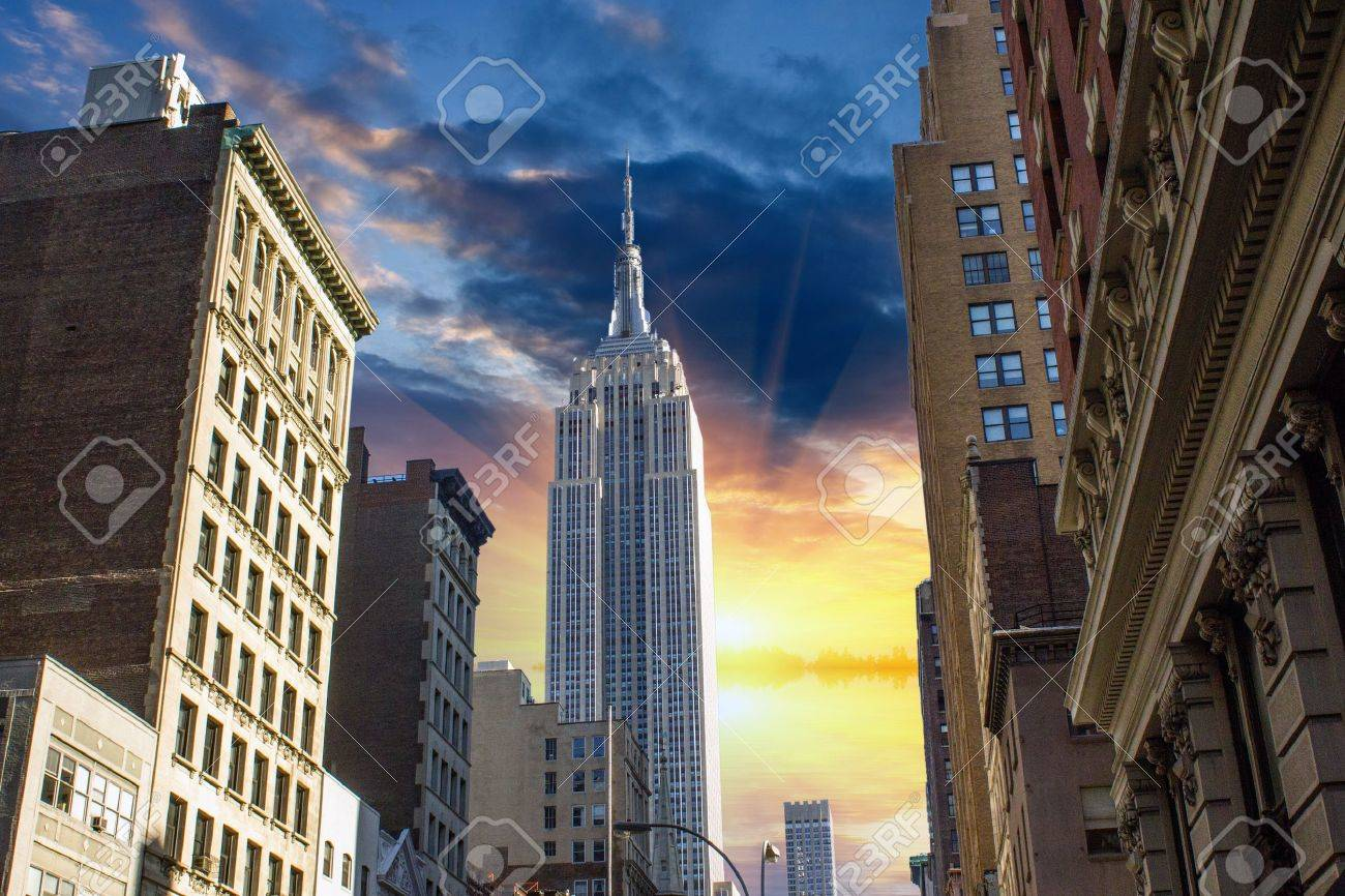 Dramatic Sky above New York City - Manhattan, U.S.A. - 14991539