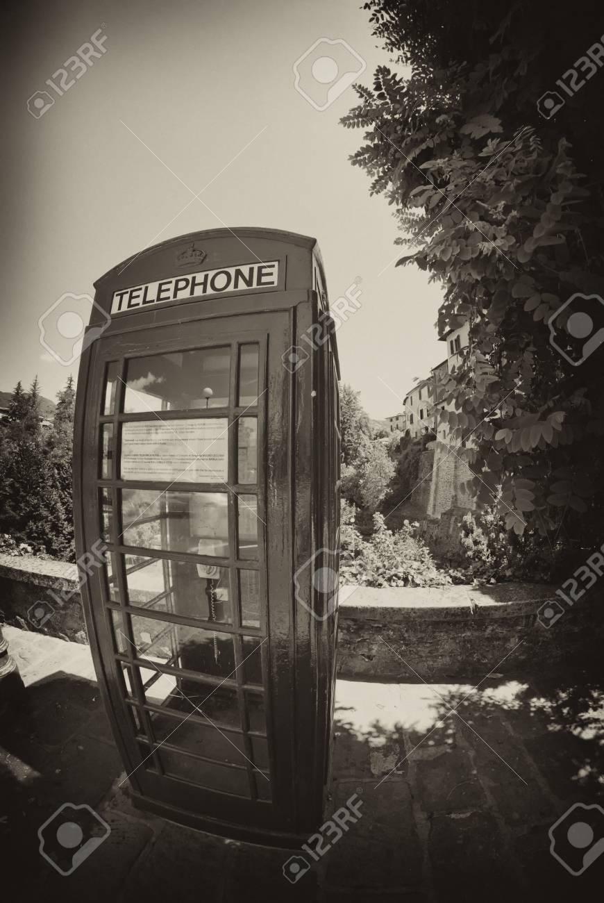 Red Telephone Cabin in Barga, Italy Stock Photo - 16240670