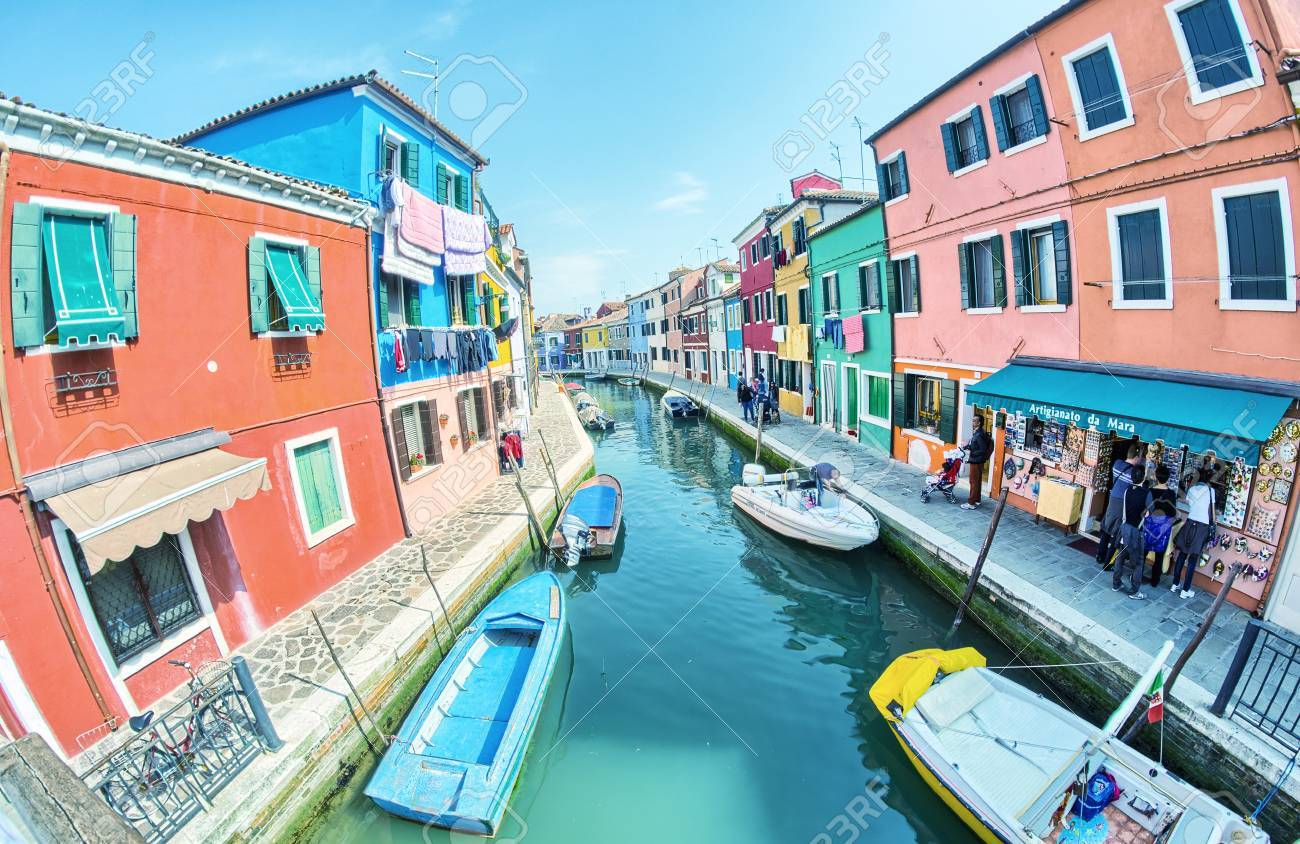 Colorful burano italy burano tourism - Burano Italy April 8 2014 Tourists Enjoy Colourful City Buildings On A