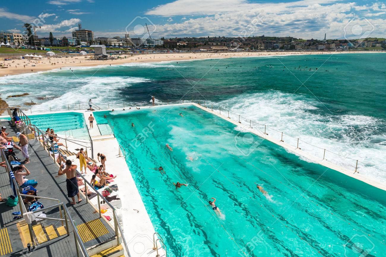 Beach Scene: Rock Swimming Pools Overlooking Tasman Sea In Bondi ...