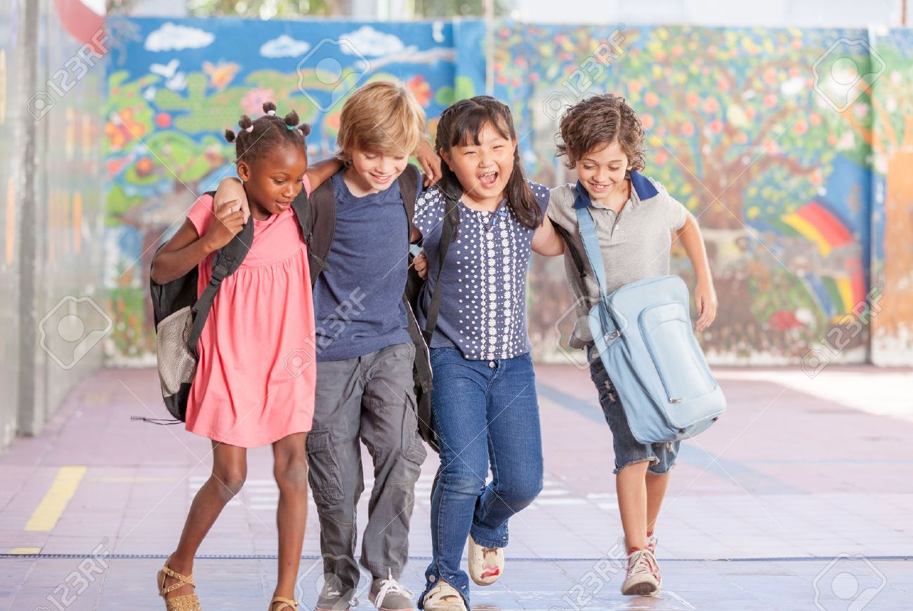 Multi ethnic group of children playing together. Success and integration concept. - 54122021