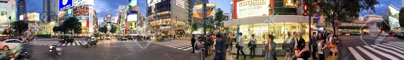 TOKYO - JUNE 2016: Panoramic night view of Shibuya crossing at Shibuya station, Tokyo - Japan. - 58775285