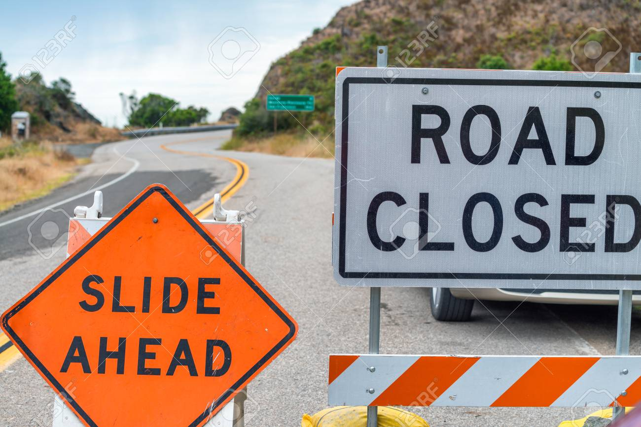 Road closed signs, danger concept. - 87855190