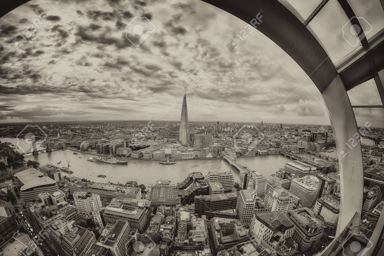London Skyline Frames By Window Glasses. Stock Photo, Picture And ...