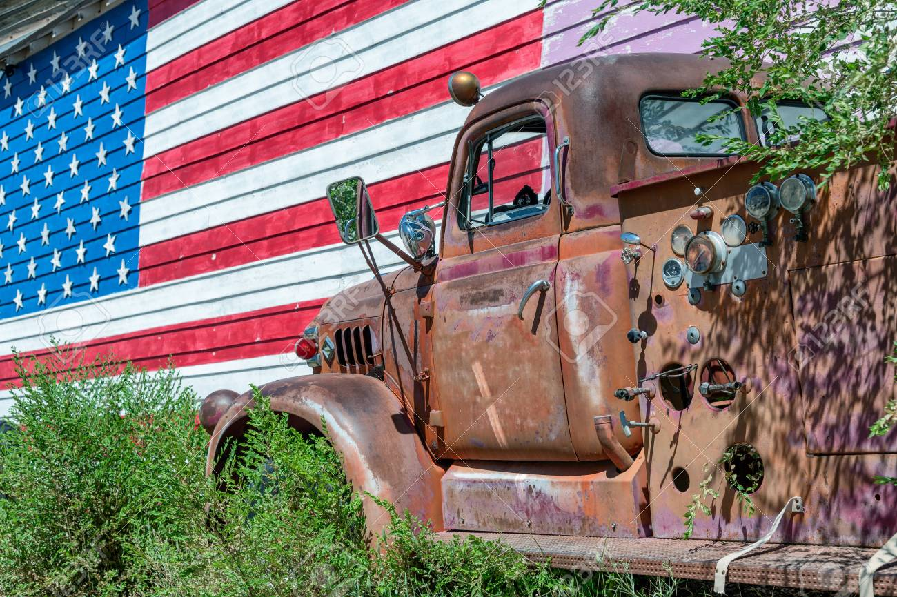 Old Truck And American Flag Symbol Of Us Route 66 Stock Photo Picture And Royalty Free Image Image 104521266