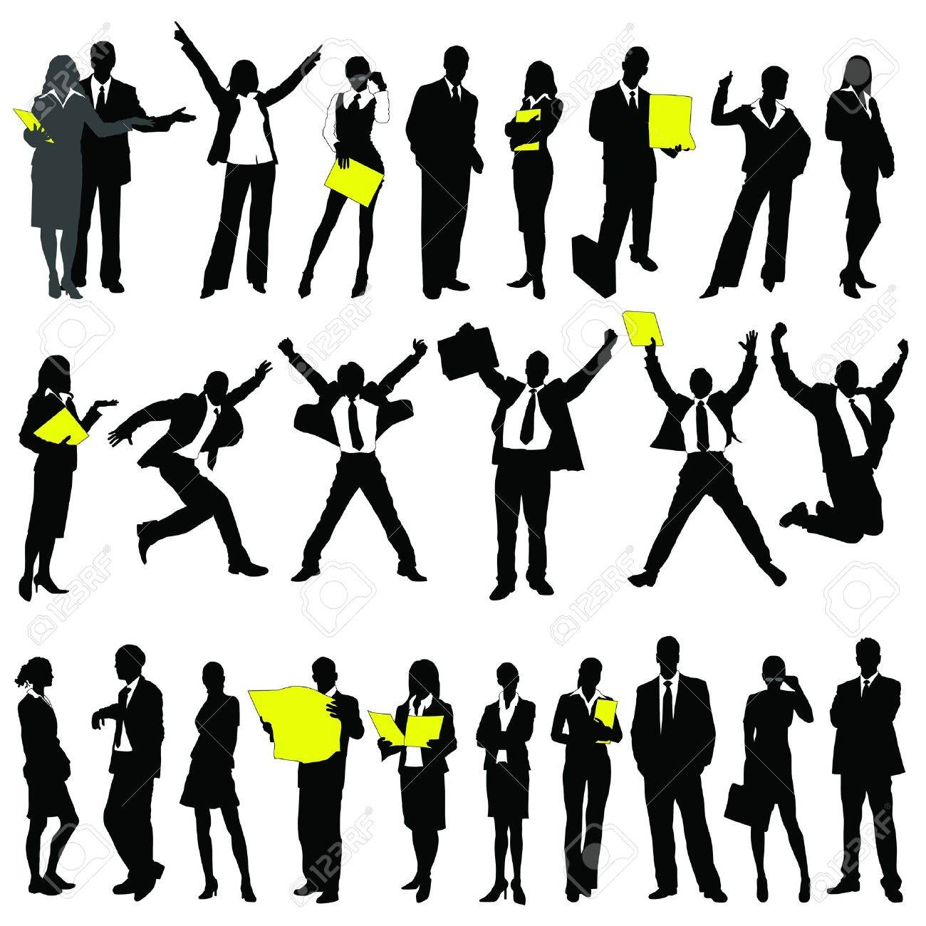 twenty-five high quality vector silhouette of business people Stock Vector - 10212794