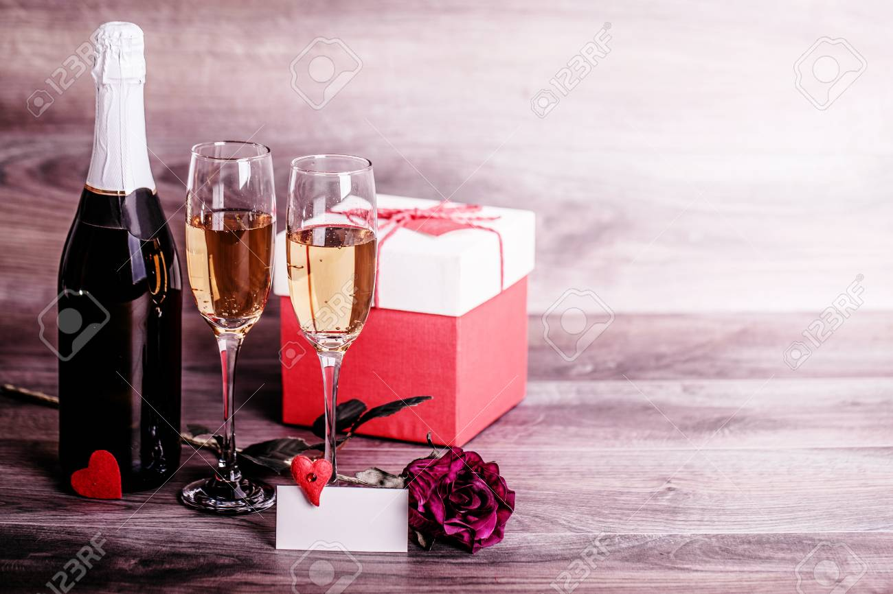 Valentines Day Champagne Wine Glasses Rose Gift In A Box Stock