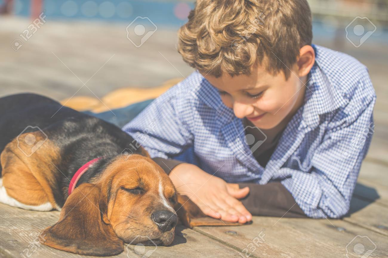 Little cute boy lying by the river with his dog  They enjoy together