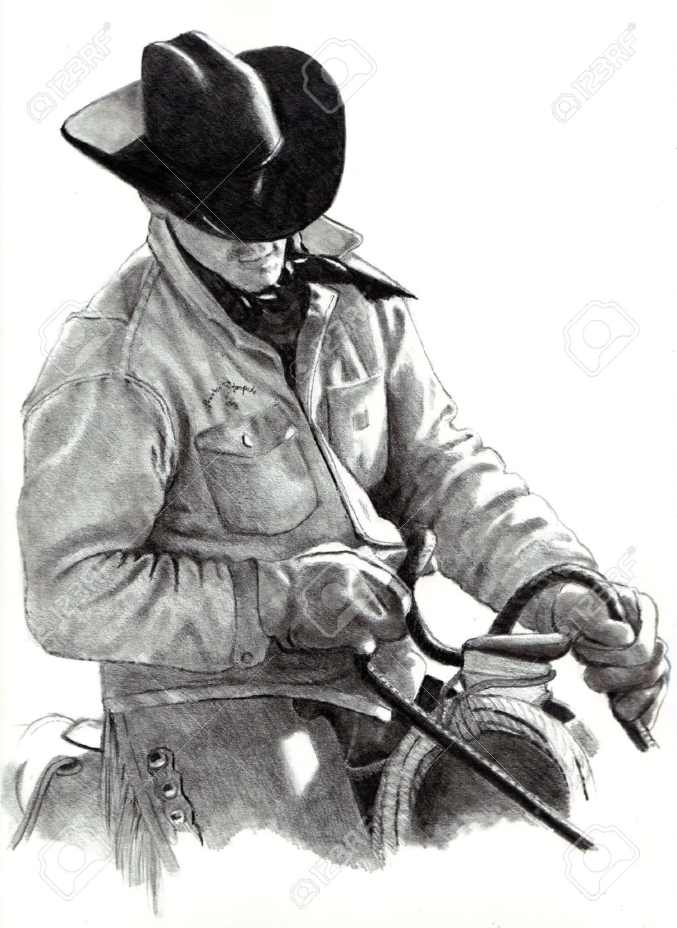 pencil drawing of cowboy in saddle stock photo picture and