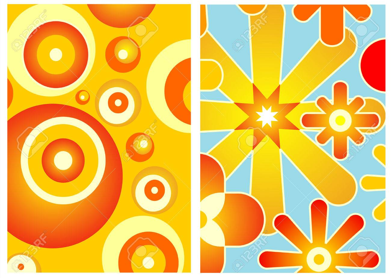 Two Wallpapers Of 70s Decor Art Royalty Free Cliparts, Vectors, And ...
