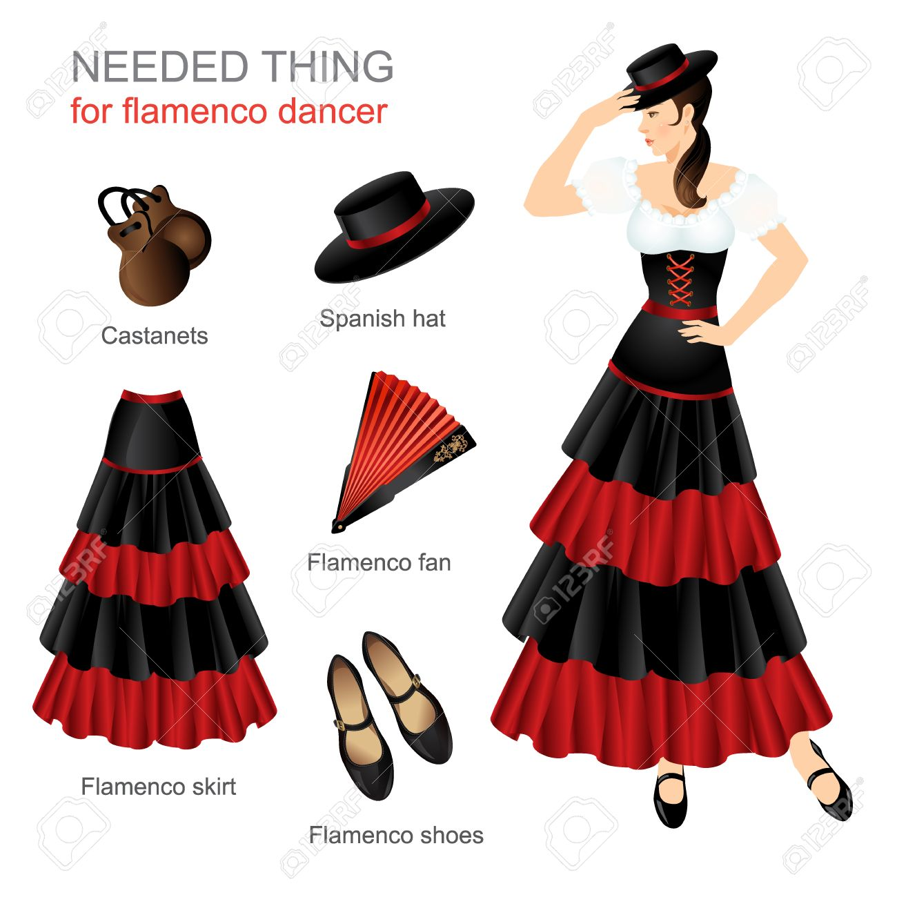 c2c36392ede5 Needed thing for flamenco dancer. Woman in spanish costume. Women dress hat  on head