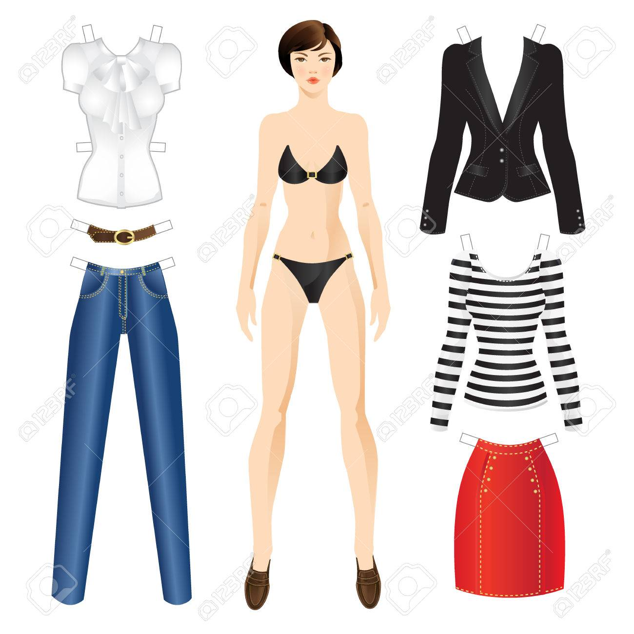 Puppe Mit Kleidung. Körper Vorlage. Set-Vorlage Papier Kleidung Für ...