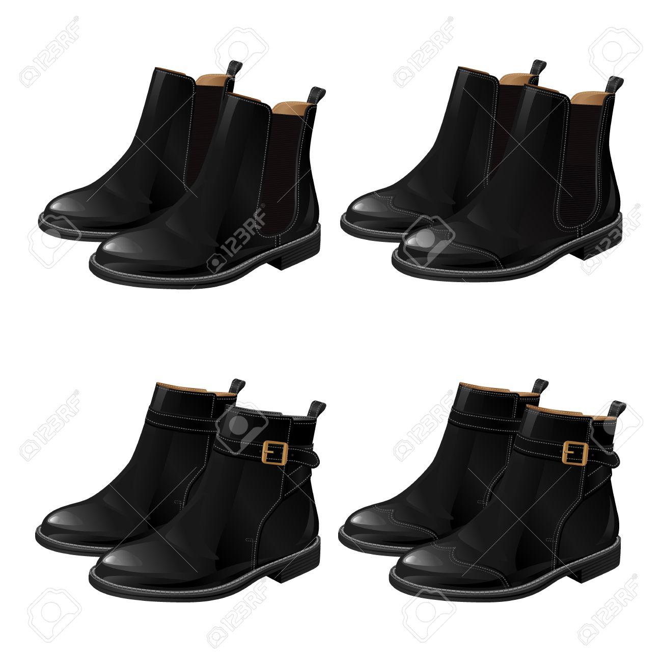 latéraux avec à Ensemble élastiques soufflets bride la chevilleBottines de différents chaussures de noiresBottes modèles avec 8ONnv0mw