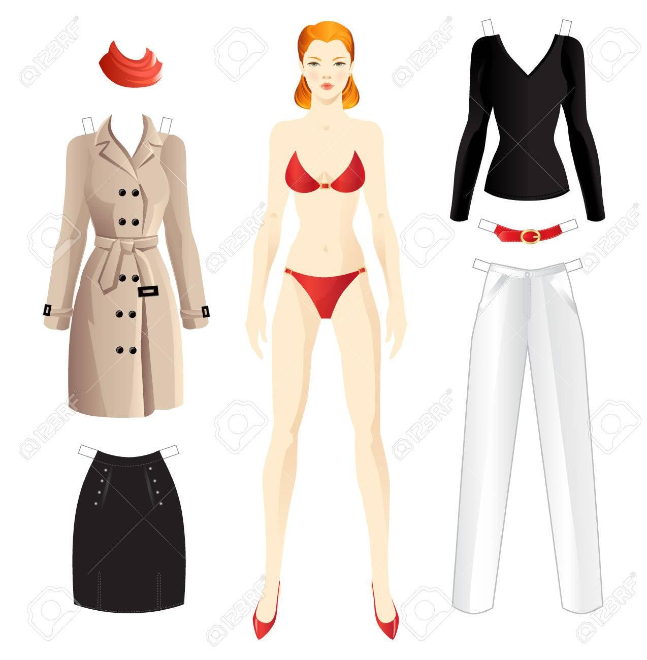 Puppe Mit Kleidung. Körper Vorlage. Kleidung Für Frauen. Set-Vorlage ...