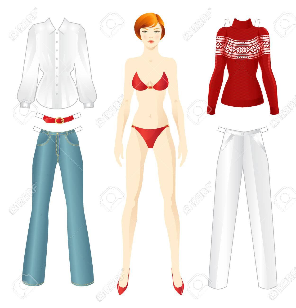 Puppe Mit Kleidung. Körper Vorlage. Set-Vorlage Papier Kleider Für ...