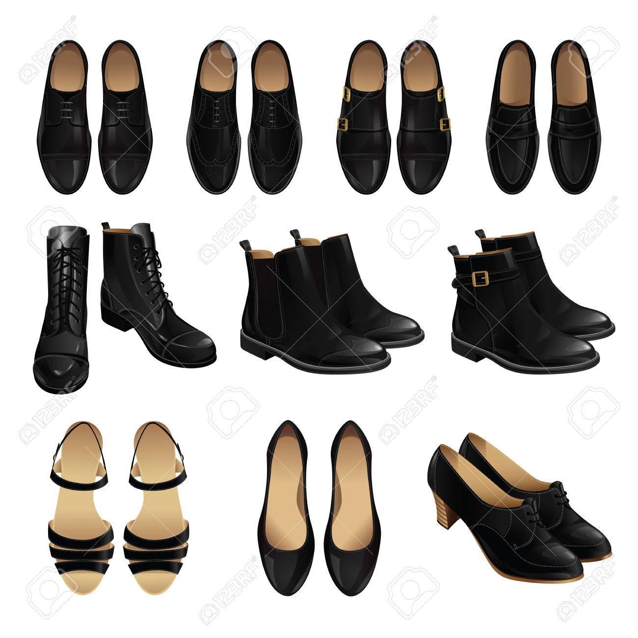 Estilo de zapato clásico. Conjunto de hombre de cuero zapatos negros y zapatos negros de cuero mujer