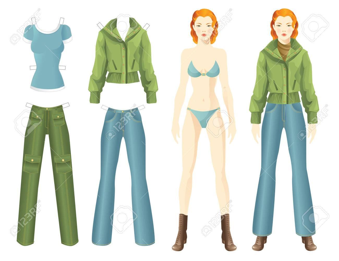 Puppe Mit Kleidung. Körpervorlage. Die Kleidung Für Die Frauen. Set ...