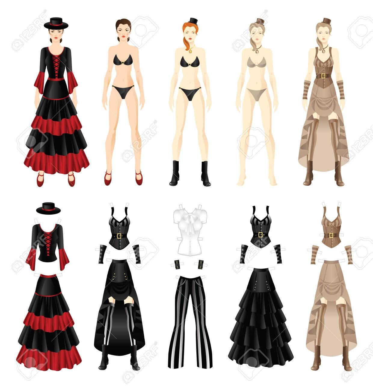 df65608a69bc Archivio Fotografico - Bambola con i vestiti. Set di vestiti di carta modello  di età vittoriana. Set di vestiti di carta modello di ballerina di flamenco.