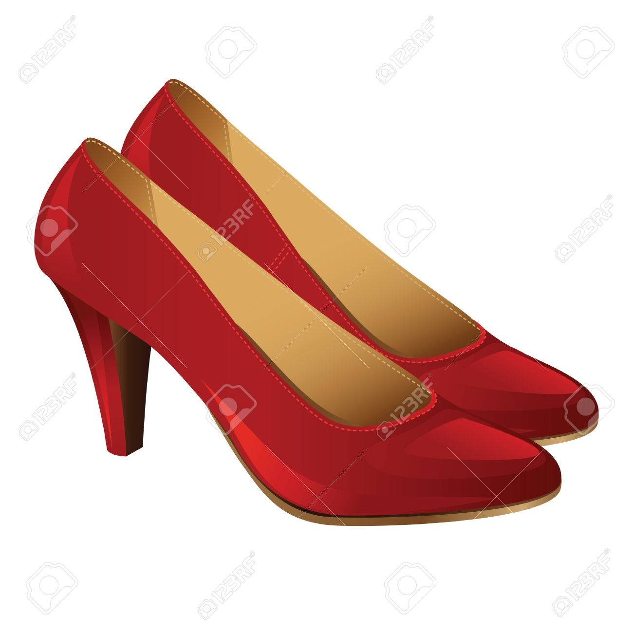 3503ae9a892 Classic woman shoes. Red court shoes isolated on white background
