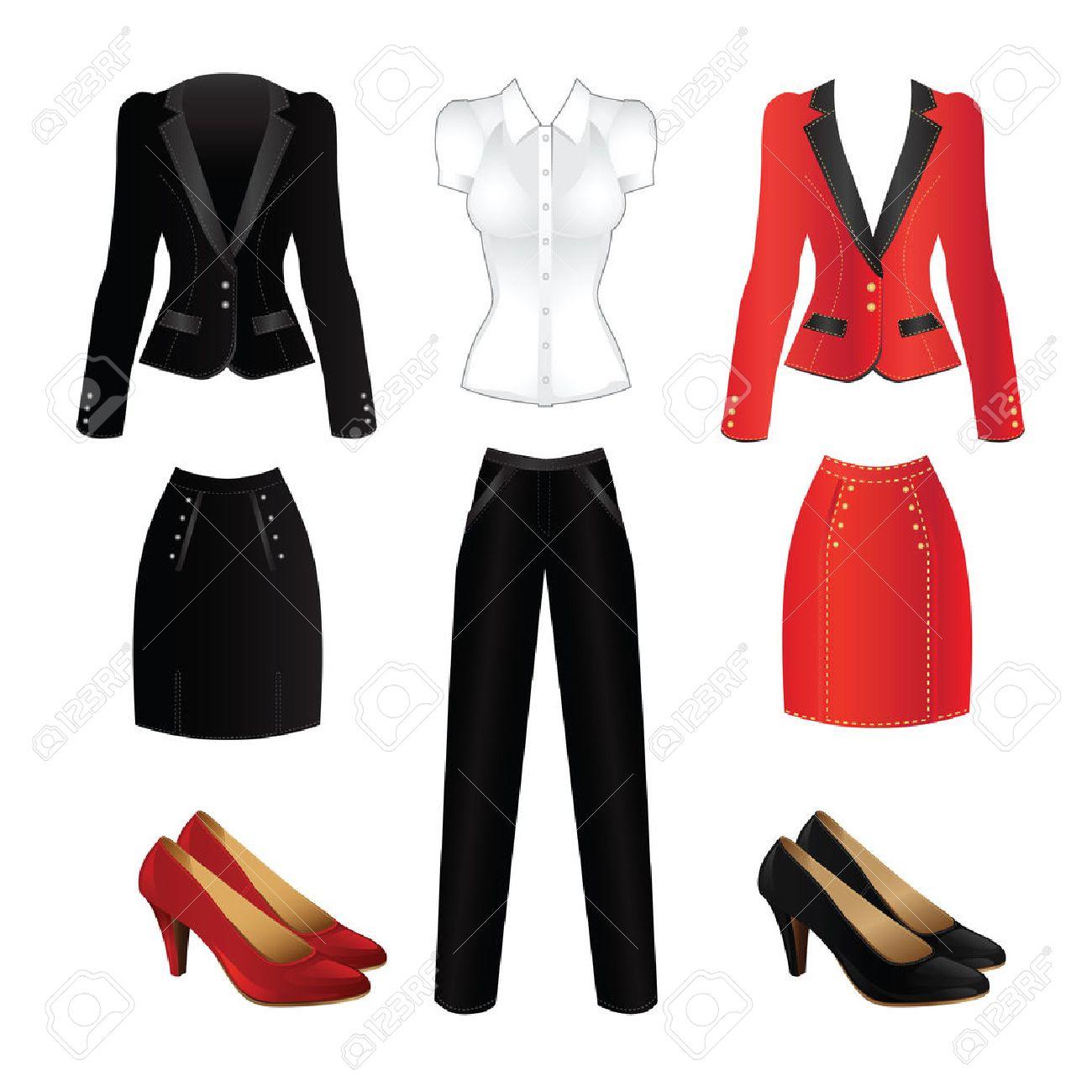 f3aab8fcb Foto de archivo - Ropa de oficina. Ropa para mujeres. traje formal roja y  traje negro oficial. zapatos clásicos para la mujer